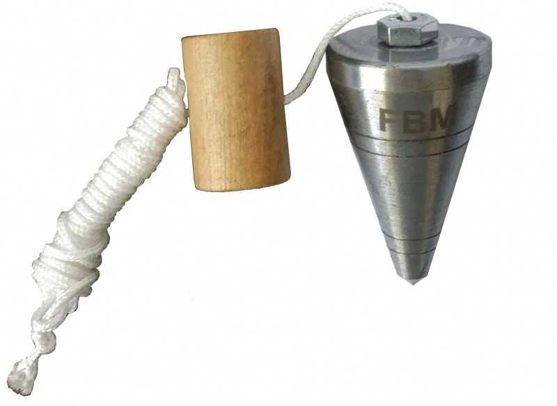 Descrição:Prumo de centro. Corpo em aço usinado, calço em madeira, cordão de nylon 2mm, embalagem blister, peso 300g.
